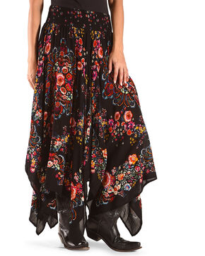 Bila Women's Black Floral Handkerchief Skirt , Black, hi-res