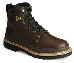 """Georgia Giant 6"""" Lace-Up Work Boots - Round Toe, Brown, hi-res"""