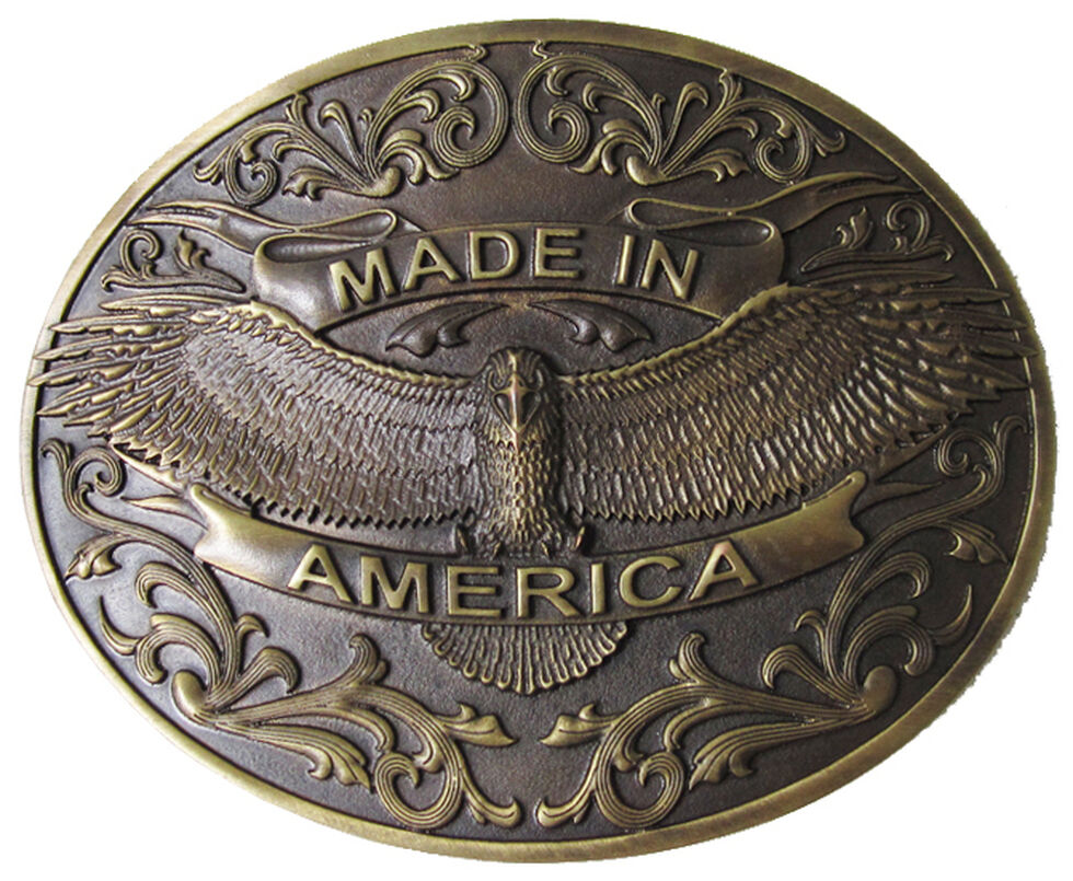 AndWest Men's Made in America Belt Buckle, Brass, hi-res