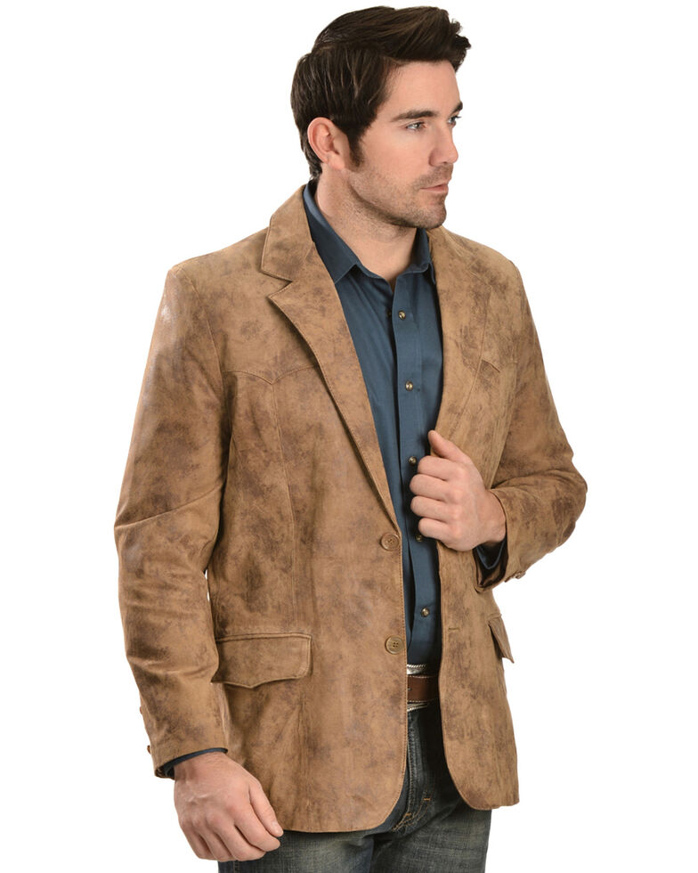Men's Western Leather Blazer, Brown, hi-res