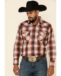 Ely Cattleman Men's Rust Dobby Plaid Long Sleeve Western Shirt - Tall, Rust Copper, hi-res