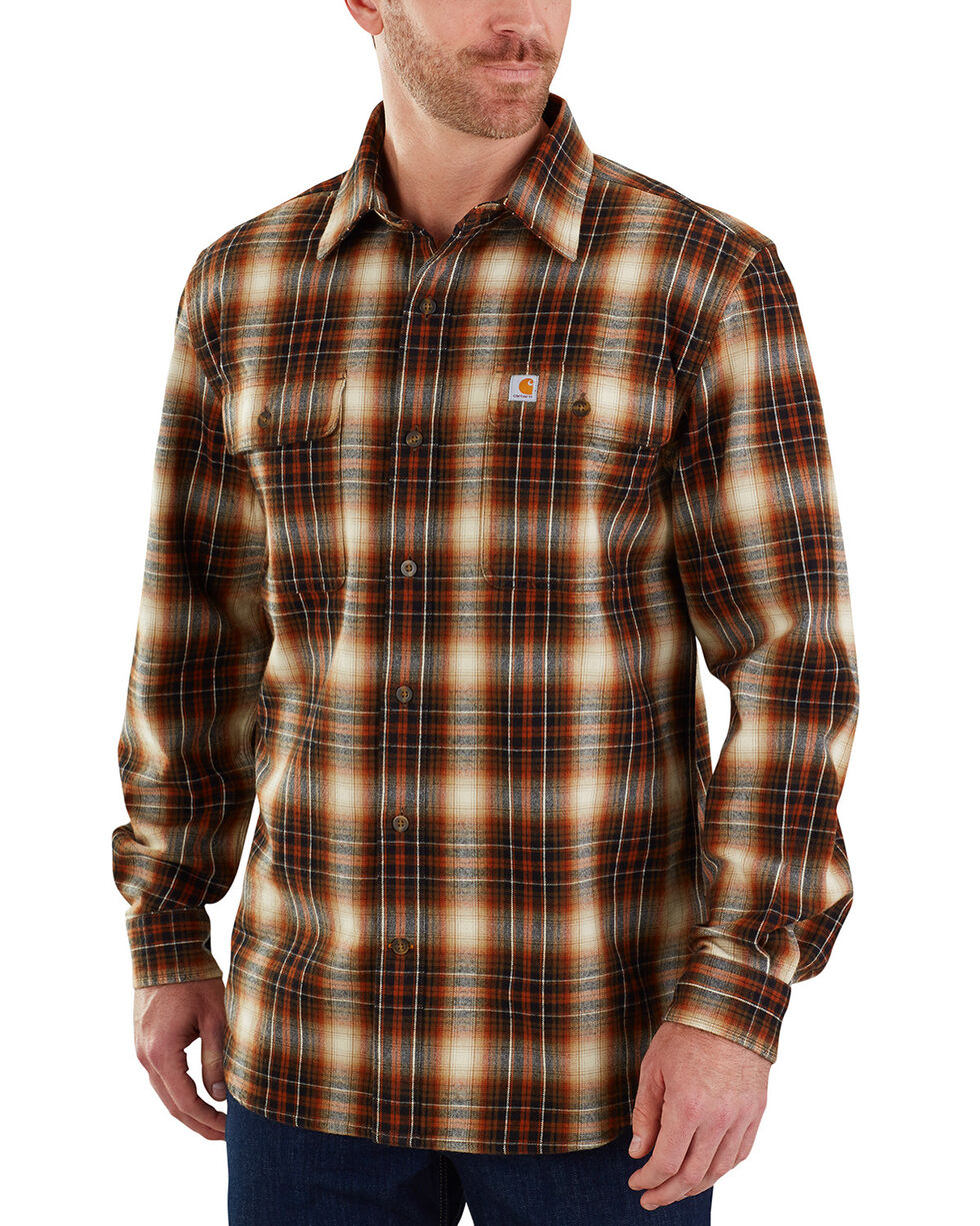 Carhartt Men's Hubbard Plaid Long Sleeve Shirt - Big & Tall, Olive, hi-res