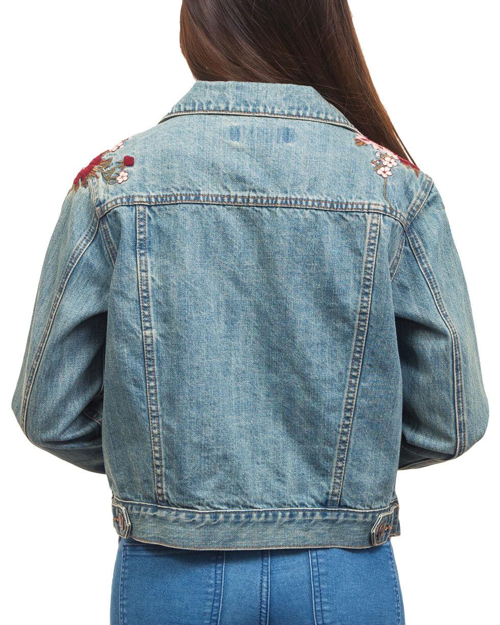 Shyanne Women's Floral Embroidered Denim Jacket, Blue, hi-res