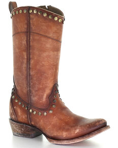 Corral Women's Honey Zipper Western Boots - Round Toe, Honey, hi-res