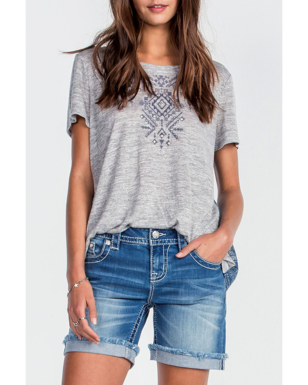 Miss Me Women's Grey Twist Of Fate Top , Grey, hi-res