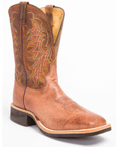 Tony Lama Men's Griffon Smooth Quill Ostrich Cowboy Boots - Square Toe, Dark Brown, hi-res