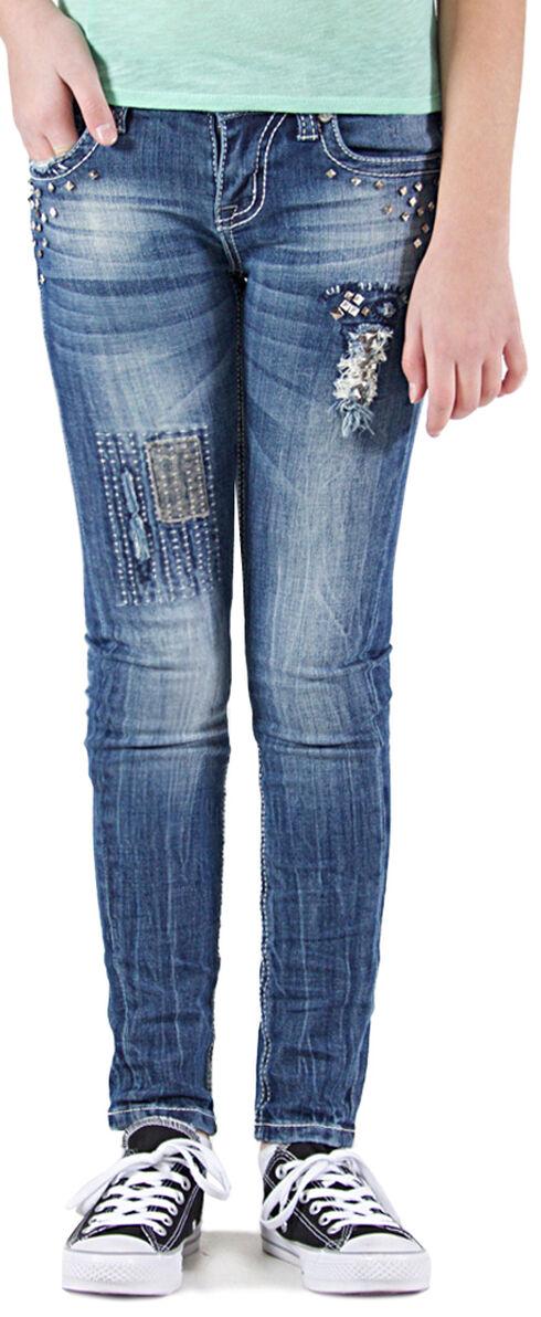 Grace in LA Girls' Embellished Skinny Jeans , Indigo, hi-res