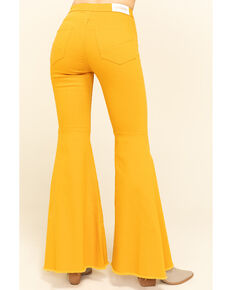 Shyanne Women's Mustard Mid-Rise Flare Jeans, Mustard, hi-res