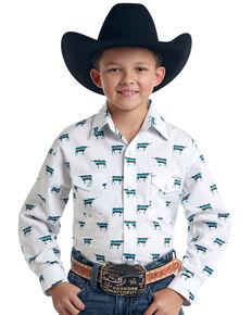Rough Stock By Panhandle Boys' El Toro Vintage Print Long Sleeve Western Shirt , White, hi-res