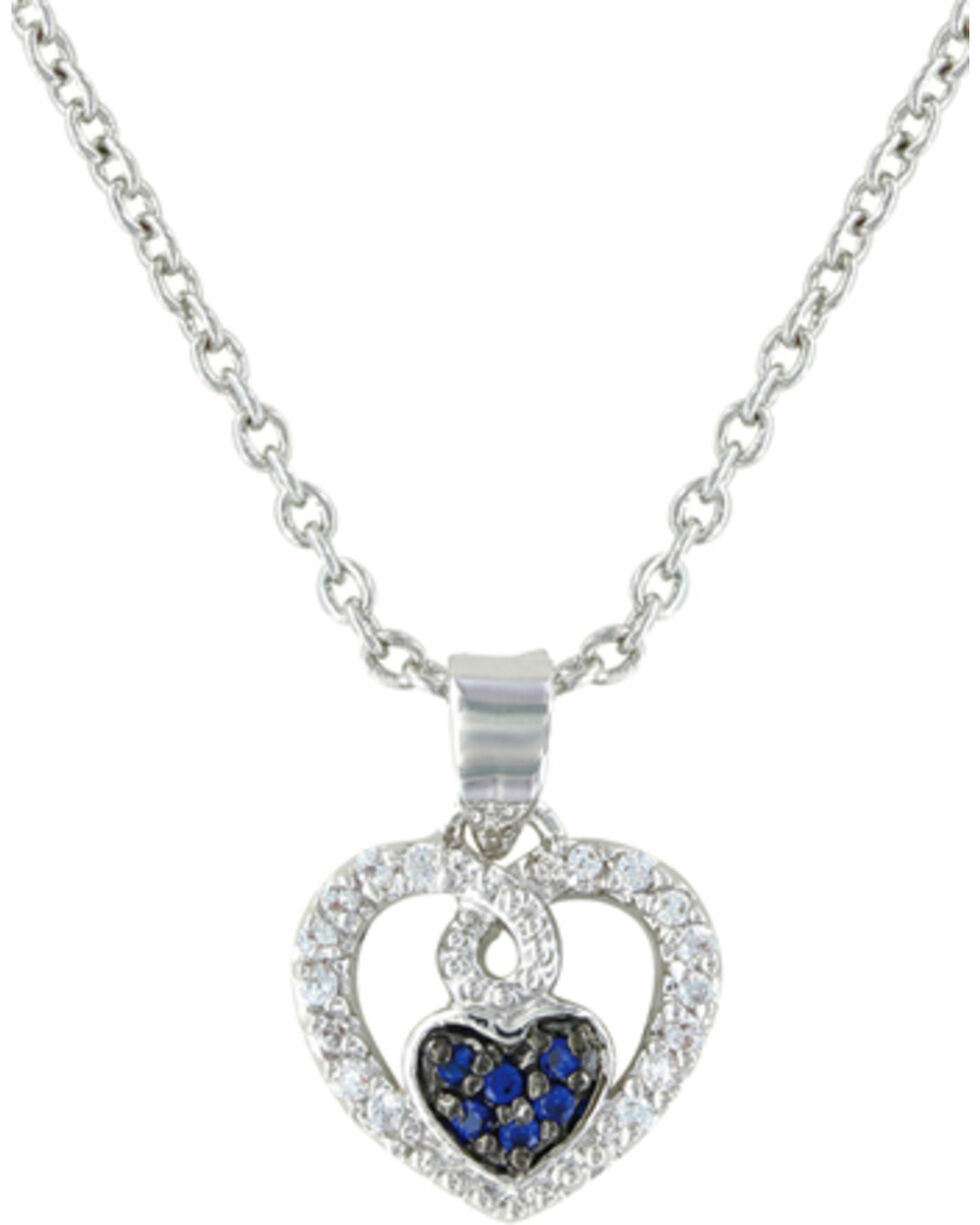 Montana Silversmiths Curlicued Cerulean Heart Necklace, Silver, hi-res