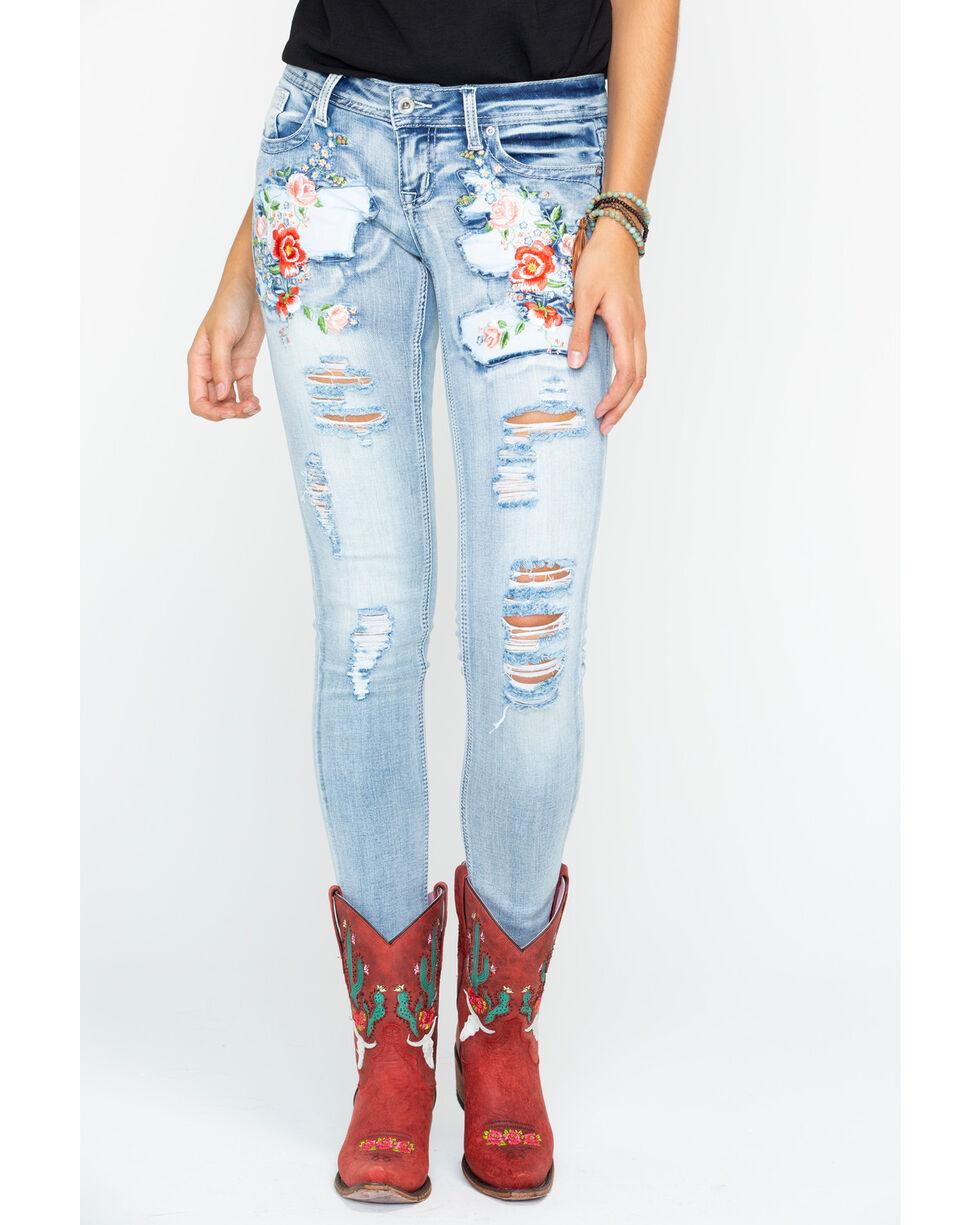 Grace in LA Women's Light Embroidered Jeans - Skinny , Indigo, hi-res