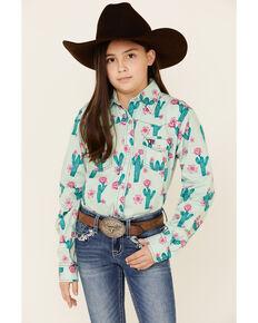 Cowgirl Hardware Girls' Mint Cactus Print Long Sleeve Western Shirt , Light Green, hi-res