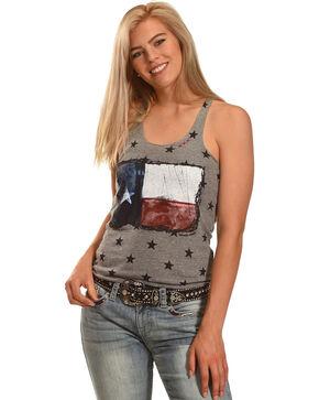 Bohemian Cowgirl Women's Texas Flag Star Tank, Grey, hi-res