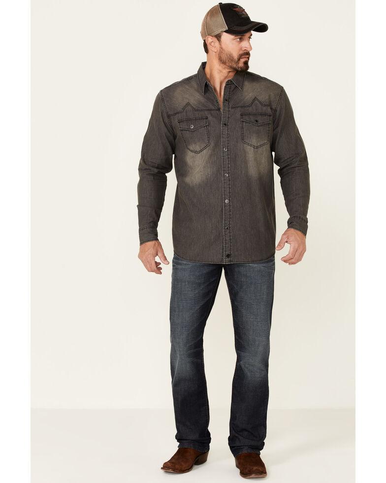 Moonshine Spirit Men's Black Diamond Chambray Solid Long Sleeve Snap Western Shirt , Grey, hi-res