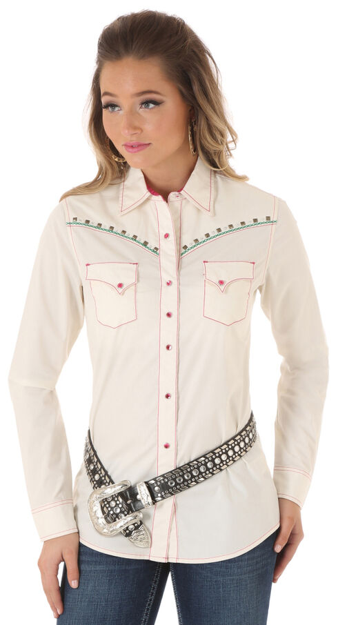 Wrangler Rock 47 Women's Heavy Stitch Snap Shirt, Cream, hi-res
