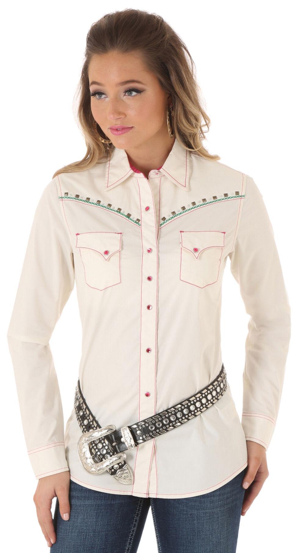 Wrangler Rock 47 Women's Heavy Stitch Snap Shirt, Cream, hi-res