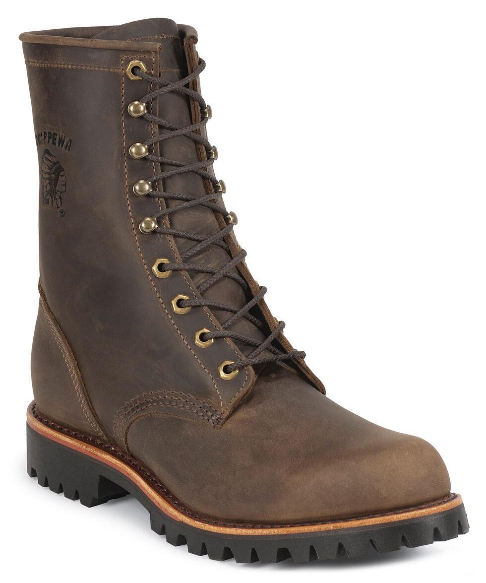 "Chippewa Lug Sole 8"" Lace-Up Work Boots - Steel Toe, Chocolate, hi-res"