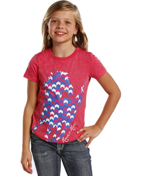 Rock & Roll Cowgirl Girls' Short Sleeve Horse T-Shirt , Multi, hi-res