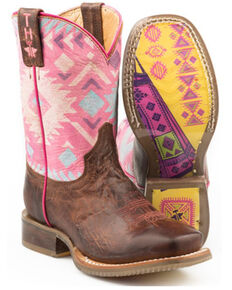 Tin Haul Girls' Moon Western Boots - Wide Square Toe, Brown, hi-res