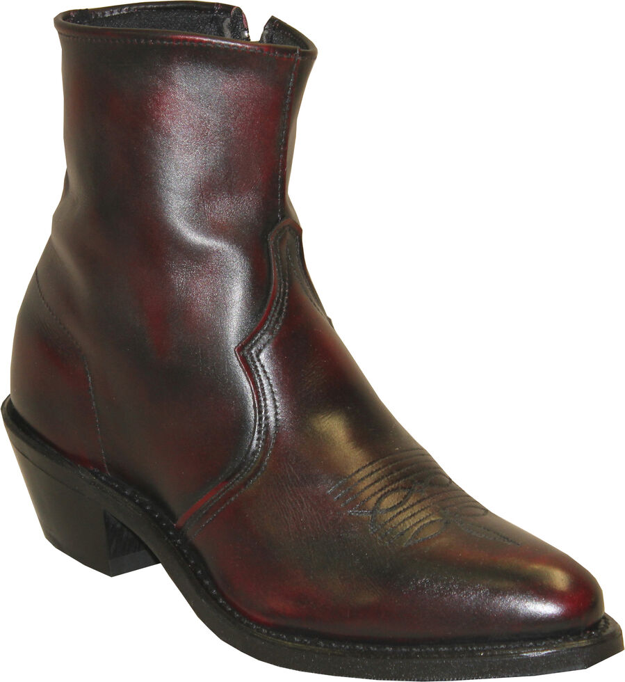 Sage by Abilene Boots Men's Zipper Short Boots - Medium Toe, Black Cherry, hi-res
