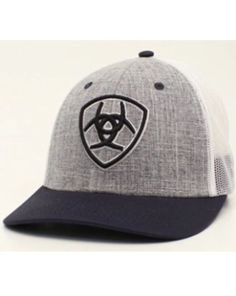 Ariat Men's Navy & Grey Embroidered Logo Mesh-Back Ball Cap , Grey, hi-res