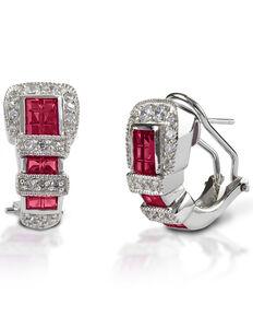 Kelly Herd Women's Red Ranger Style Buckle Earrings , Silver, hi-res