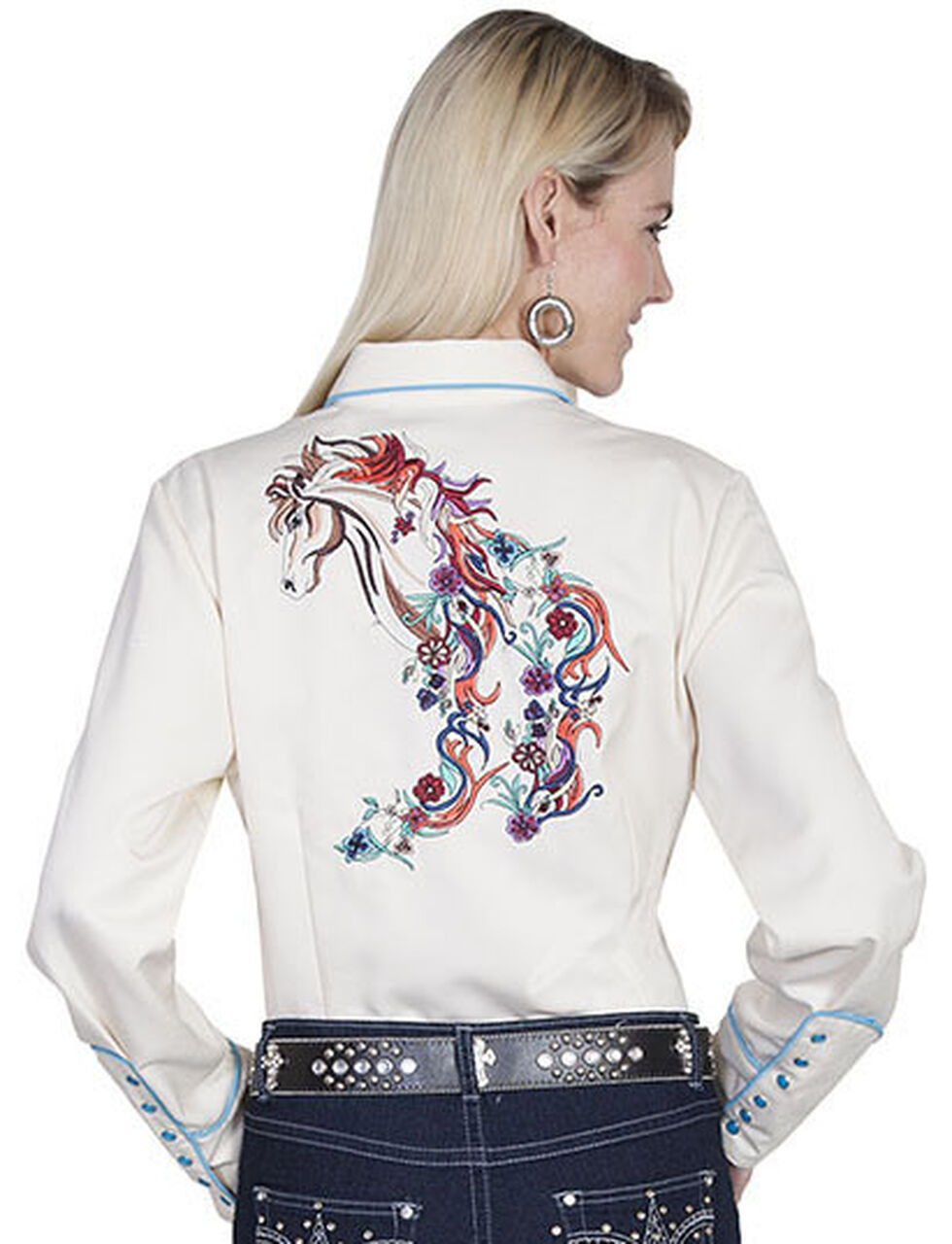 Scully Women's Colorful Horse Embroidered Long Sleeve Shirt, Cream, hi-res