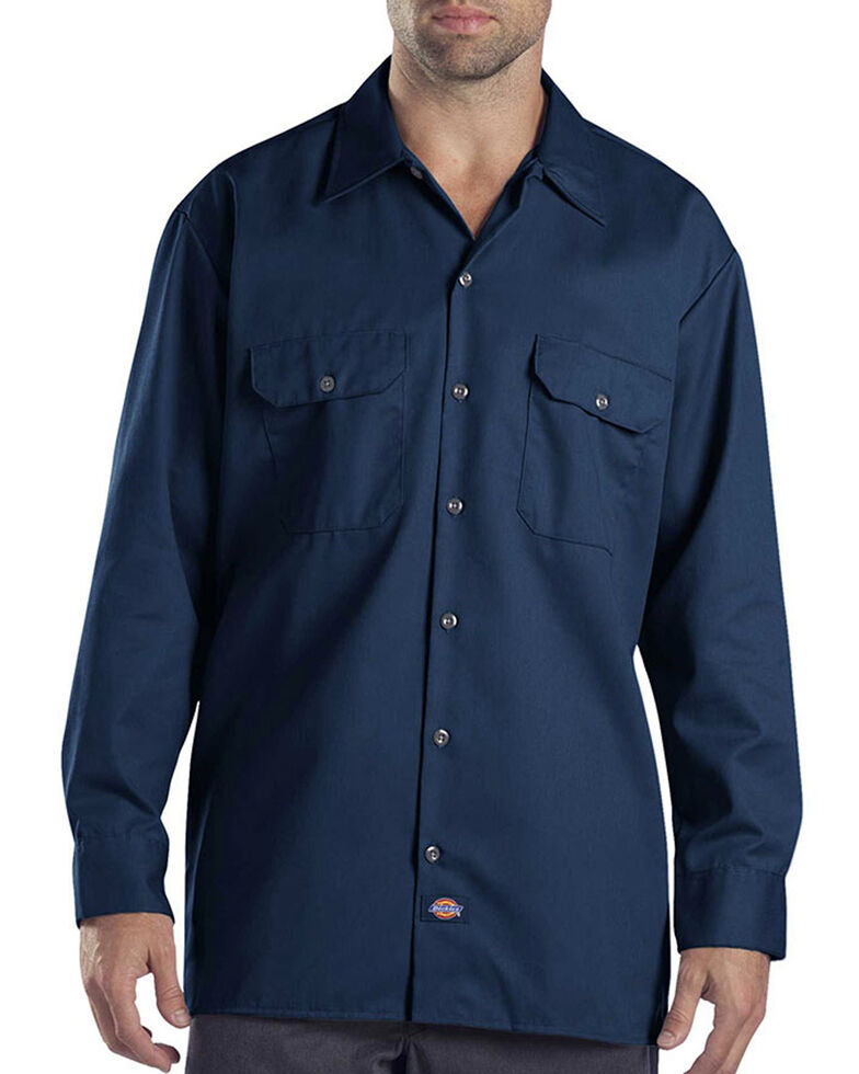 Dickies Men's Solid Twill Long Sleeve Work Shirt - Folded , Navy, hi-res