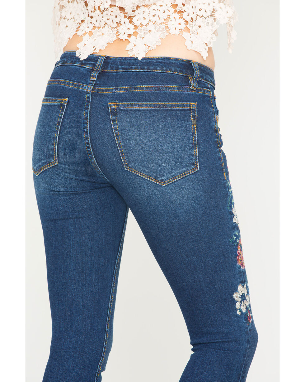 Miss Me Women's Sweet Sentiments Mid-Rise Ankle Skinny Jeans, Indigo, hi-res