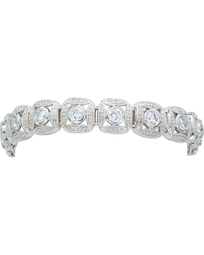 Montana Silversmiths Silver Crystal Square Link Bracelet, Silver, hi-res