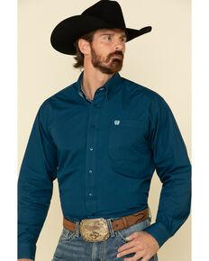 Cinch Men's Dark Blue Solid Long Sleeve Western Shirt , Blue, hi-res