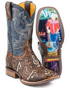 Tin Haul Men's Country Sound Western Boots - Wide Square Toe, Brown, hi-res