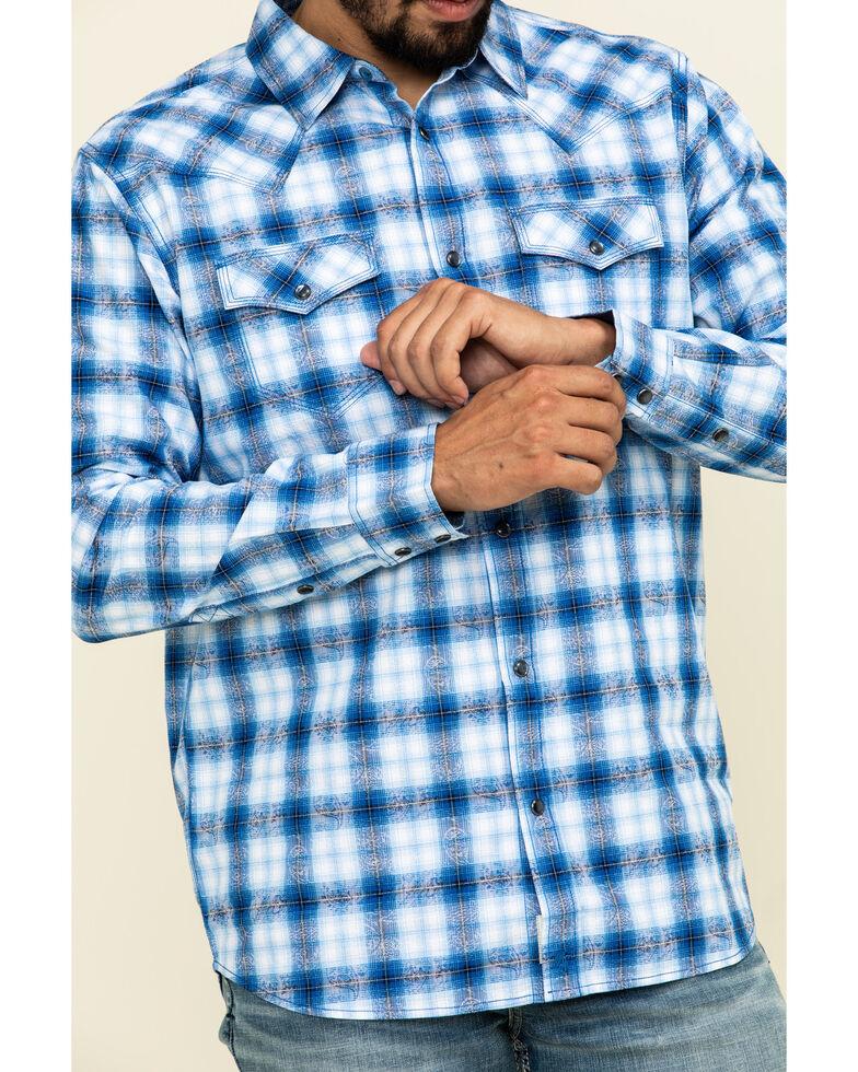 Moonshine Spirit Men's Gary Plaid Long Sleeve Western Shirt , Royal Blue, hi-res