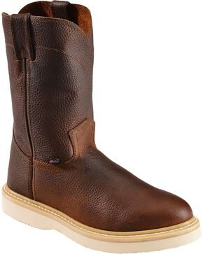 Justin Premium Wedge Work Boots - Soft Round Toe, Tan, hi-res