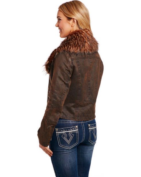 Cripple Creek Women's Asymmetric Faux Fur Jacket, Brown, hi-res