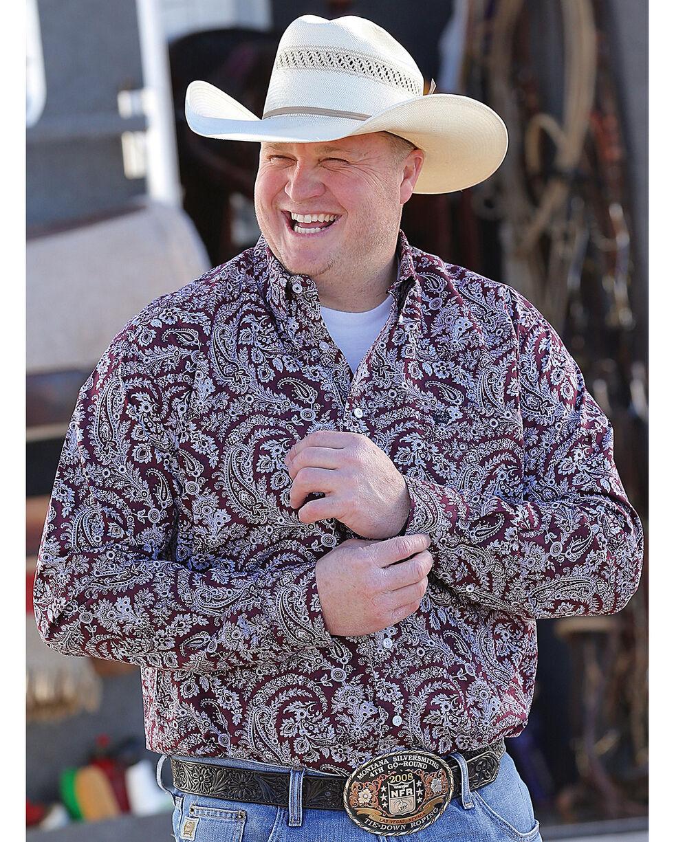 Cinch Men's Plain Weave Printed Long Sleeve Shirt, Burgundy, hi-res