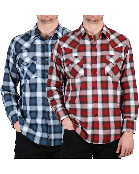 Ely Cattleman Men's Assorted Peached Plaid Long Sleeve Shirt , Multi, hi-res