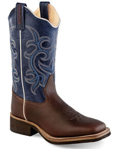Old West Women's Navy Western Boots - Broad Square Toe, Brown, hi-res
