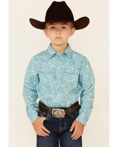 Cody James Boys' Bronco Floral Print Long Sleeve Snap Western Shirt , Blue, hi-res