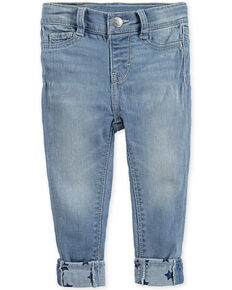 Levi's Infant Girls' 710 Light Wash Star Cuff Skinny Jeans, Blue, hi-res