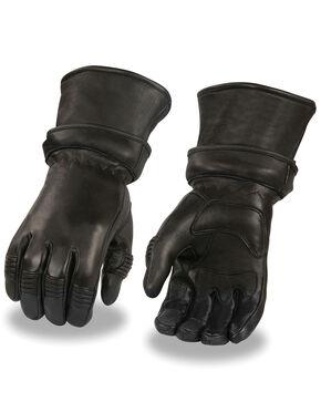 Milwaukee Leather Men's Gel Palm Deerskin Gauntlet Gloves, Black, hi-res