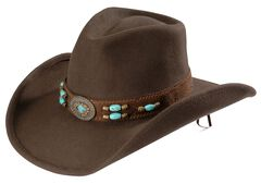 Bullhide Jewel of the West Wool Cowgirl Hat, Brown, hi-res