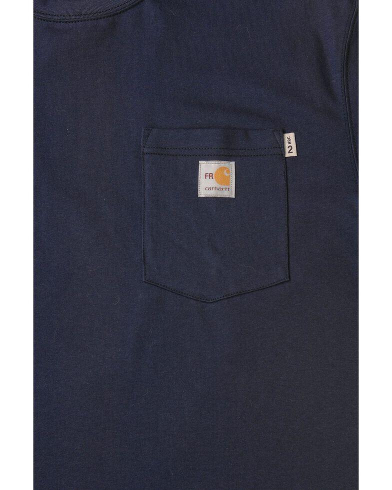 Carhartt Short Sleeve Navy Blue Pocket Fire Resistant Work T-Shirt, Navy, hi-res