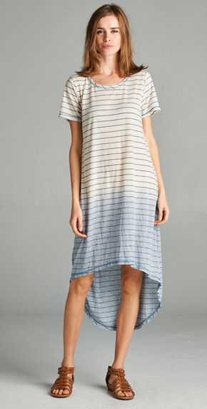 Hyku Women's Blue Dip Dyed Hi-Lo Dress, Blue, hi-res