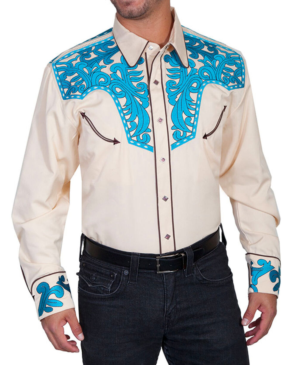 Scully Men's Scroll Tooled Long Sleeve Western Shirt, Tan, hi-res