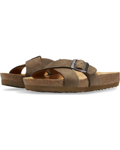Eastland Women's Earth Kelley Slide Sandals , Olive, hi-res