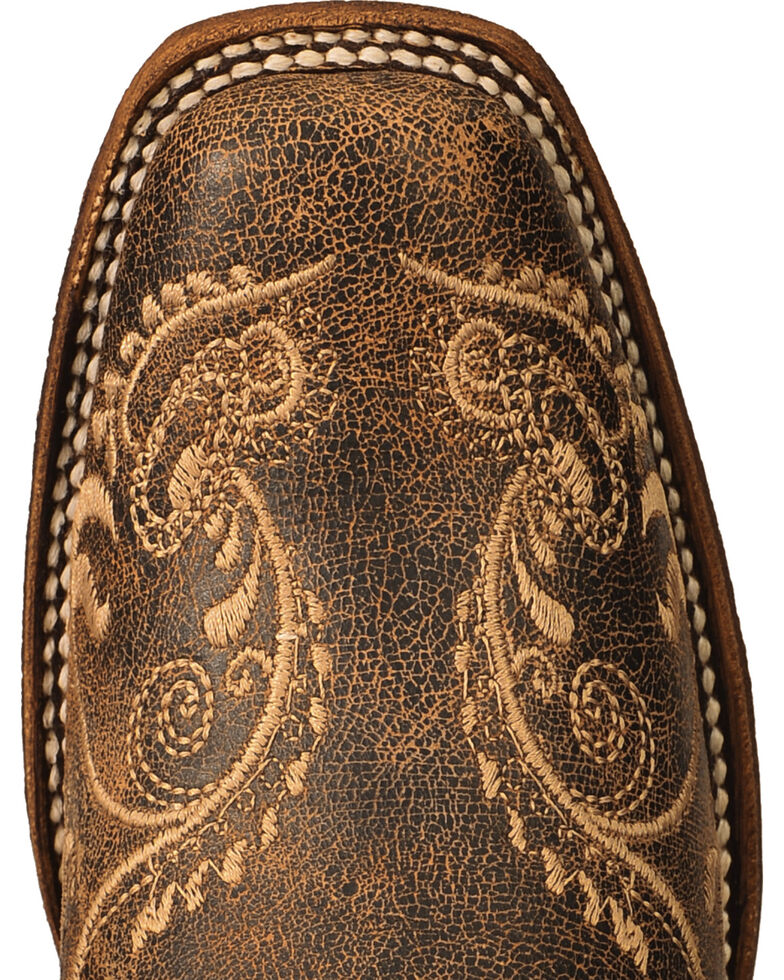 Circle G Women's Dragonfly Embroidered Cowgirl Boots - Square Toe, Brown, hi-res