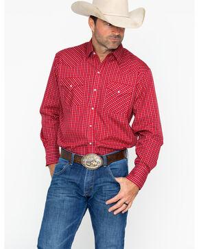 Ely Cattleman Men's Long Sleeve Plaid Mini Checks Shirt , Burgundy, hi-res