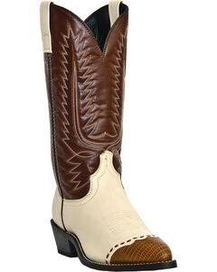 Laredo Lizard Print Wingtip Cowboy Boots, White, hi-res