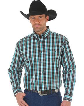 Wrangler Men's Black Classic Plaid Western Shirt - Big and Tall , Black, hi-res